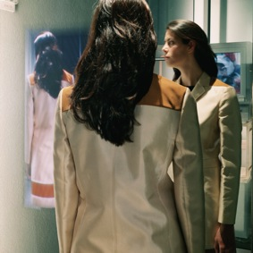 "Actress uses the ""magic mirror"" at Prada's flagship store in New York City."